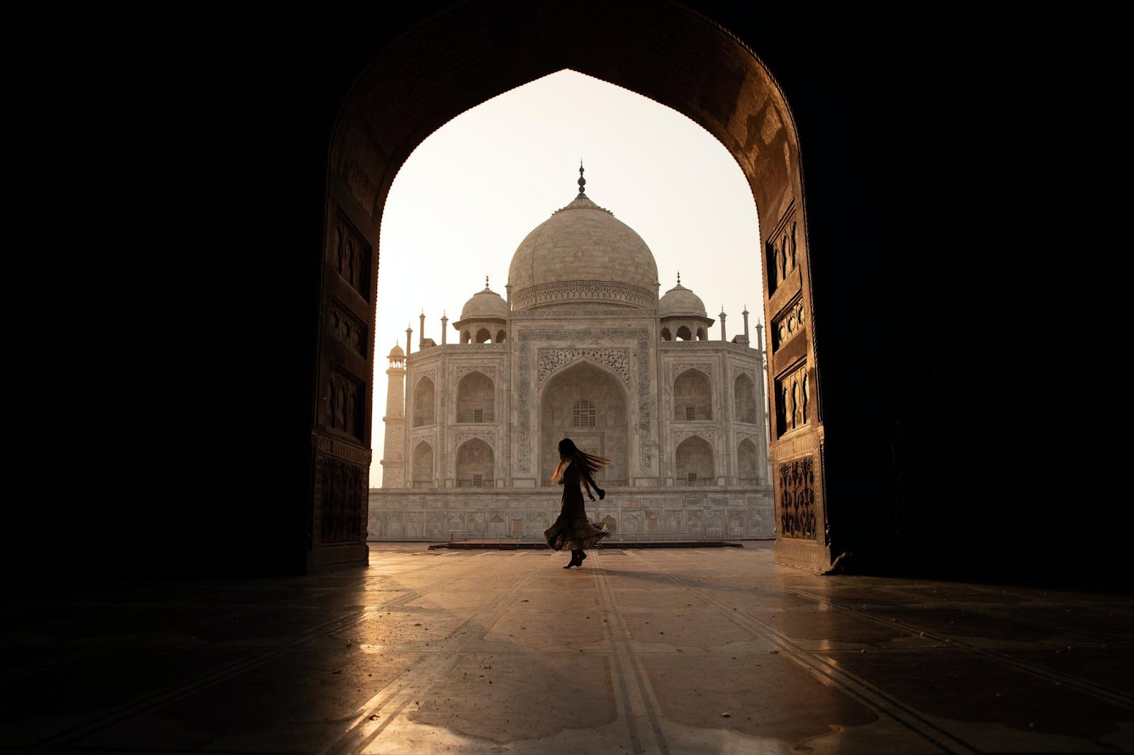GIRL TWIRLING AT TAJ MAHAL INDIA