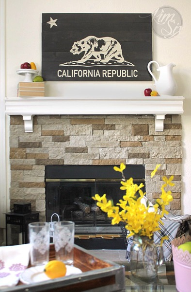 Rustic California Stone Fireplace With State Flag