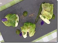Lucioperca scottato in verza con patate e bottarga di coregone