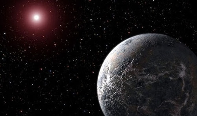 This artist's illustration shows an icy/rocky planet orbiting a dim star. Astronomers detected an extrasolar planet five times as massive as Earth circling a relatively cool red dwarf star. The distance between the planet, designated OGLE-2005-BLG-390Lb, and its host is about three times greater than that between the Earth and the Sun. The planet's large orbit and its dim parent star make its likely surface temperature a frigid minus 364 degrees Fahrenheit (minus 220 degrees Celsius).