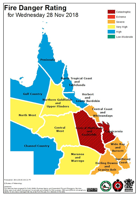 On 28 November 2018, Fire Danger Ratings reached 'Catastrophic' for the first time in Queensland, Australia, due to the combination of a very dry, hot airmass and strong, gusty westerly winds, according to the Australia Bureau of Meteorology. Graphic: Bureau of Meteorology