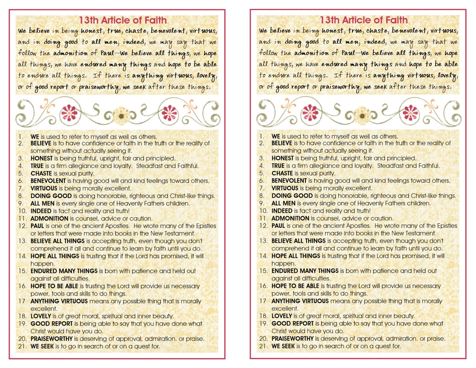 articles of faith I'm so excited to share these simple but cute pocket sized article of faith reference cards with all of you also included is an 'i know my articles of faith.