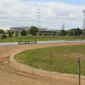 Another view of the track wall at Waikaraka Family Speedway.