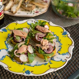 Grilled Polenta With Wilted Summer Salad.