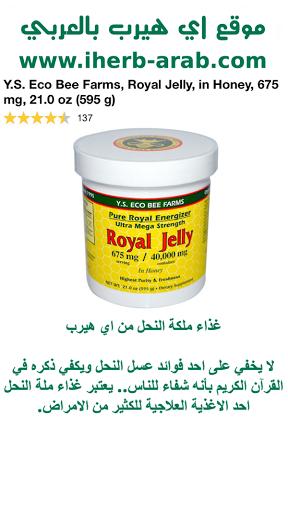 غذاء ملكة النحل من اي هيرب Y.S. Eco Bee Farms, Royal Jelly, in Honey, 675 mg, 21.0 oz (595 g)