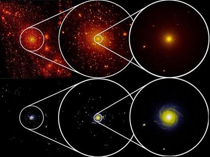 distribuição da matéria escura, acima, e das estrelas, abaixo
