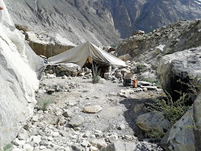Out last night's camp at Attabad Lake.