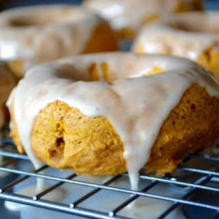 Baked Pumpkin Donuts w/ Vanilla Icing.