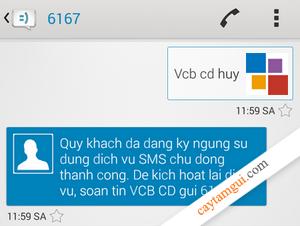Hướng dẫn hủy đăng ký SMS Banking Vietcombank tại nhà