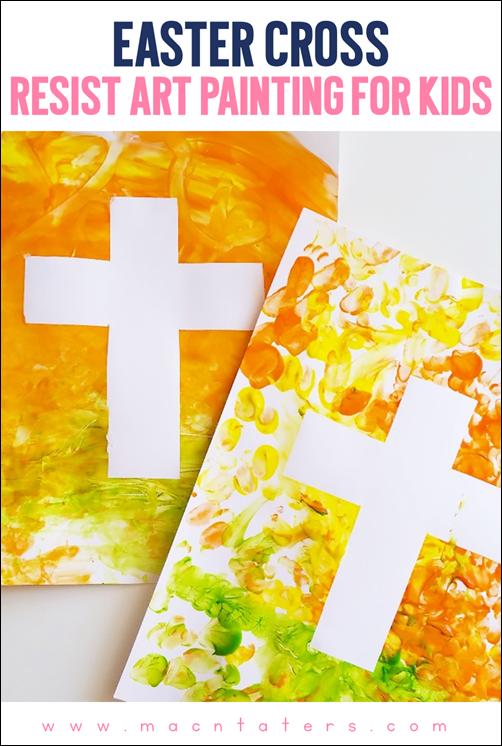 Easter Cross Resist Art Painting For Kids