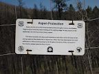 Paseo del Lobo Section 40: Aspen regeneration enclosure sign after the Schultz Fire (Photo by E. Nelson)