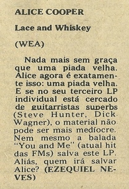 Alice Cooper, Lace And Whiskey - Jornal de Música 1977-08