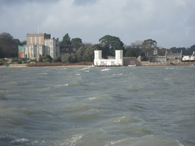 The lifeboats return to the harbour past Brownsea Castle. 7 January 2014.  Photo credit: Anne Millman, RNLI Poole.