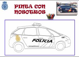 colorea coche policia