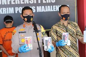 Pelaku Pencurian Belasan Handphone Berhasil Diamankan Sat Reskrim Polres Majalengka