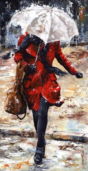 Rainy day - Woman of New York 10 Painting by Emerico Toth; Rainy day - Woman of New York 10 Art Print for sale