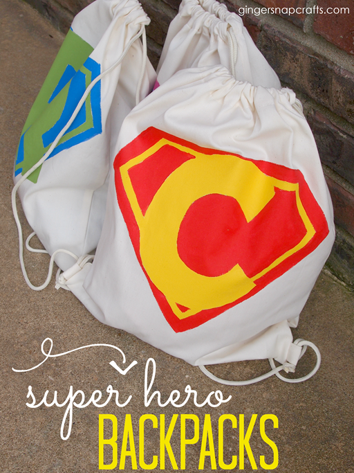 Super Hero Backpacks at GingerSnapCrafts.com #superhero #backpack #fabricpaint #tutorial_thumb