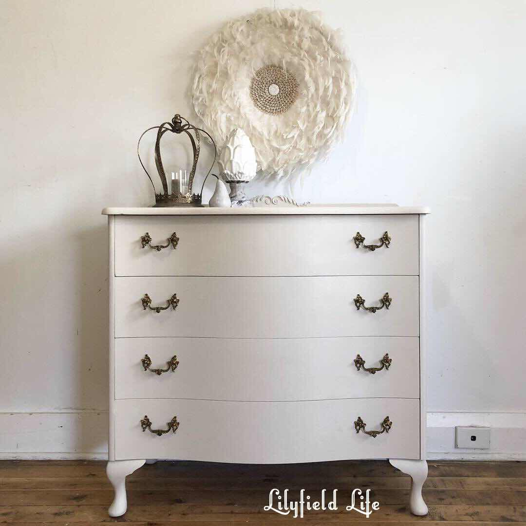 white hand painted vintage bedroom furniture - lilyfield life drawers