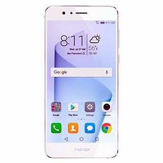 """HUAWEI Honor 8 64GB 4G LTE Smartphone with Dual Rear 12MP Cameras, Fingerprint Unlocking, Octa Core CPU, Android 6.0, 5.2"""" FHD Display (White)"""