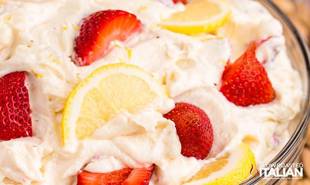 Strawberry Lemonade Cheesecake Salad overhead