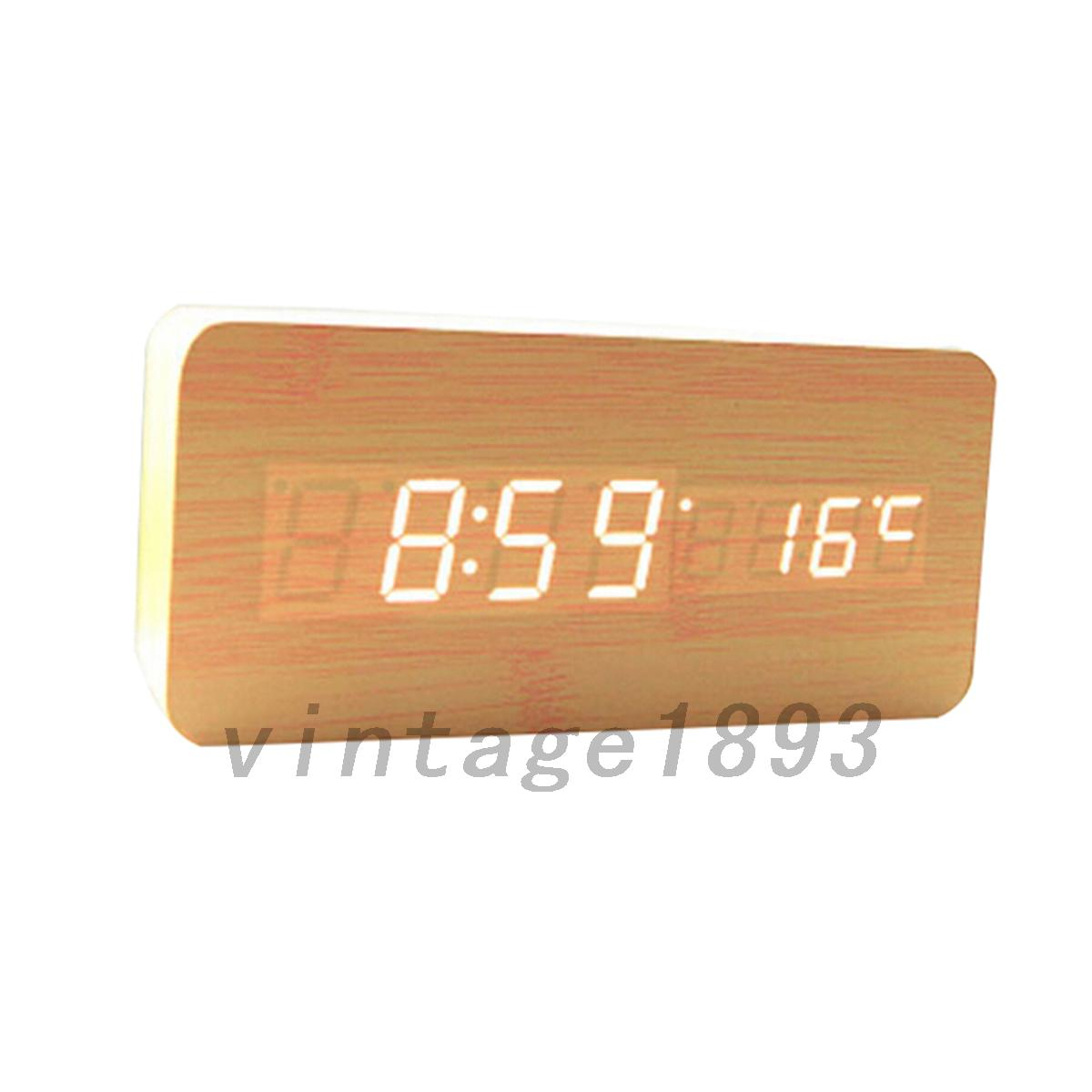digital wanduhr uhr wecker stranduhr uhr holz mdf mit led ziffern thermometer ebay. Black Bedroom Furniture Sets. Home Design Ideas