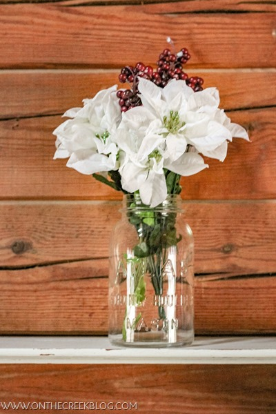 Simple & easy Christmas decorating using old mason jars & Dollar Tree flowers!