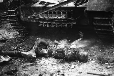 dead burned soldier in WWII