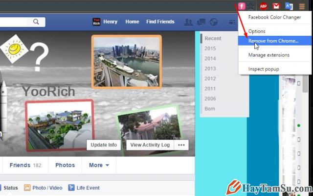 gỡ chương trình thay đổi giao diện facebook