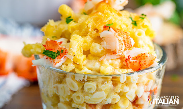 lobster mac and cheese in glass bowl