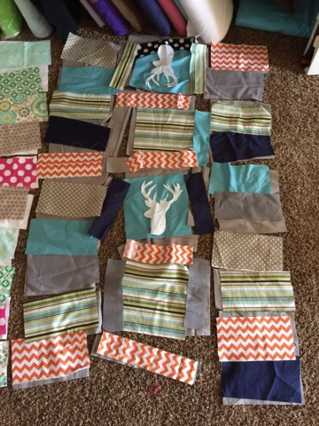 Rag Quilt laid out before being sewn.