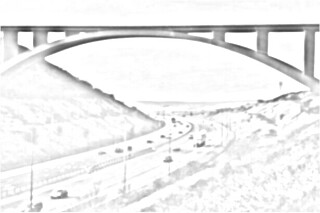 bridge over deep motorway valley sketch