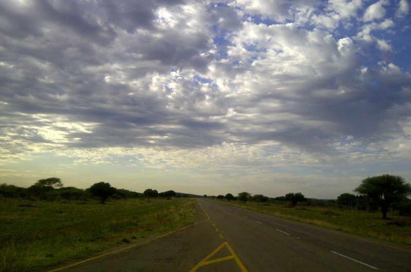 The turnaround point on my daily bike road on the road to Sikwane facing East