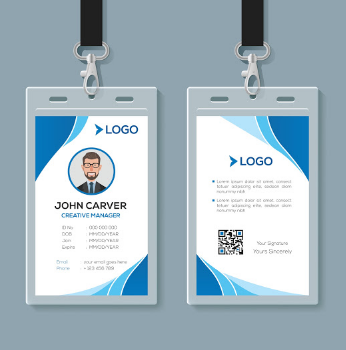 Design ID Card dengan Element Biru Disudutnya