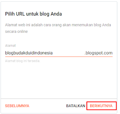 Masukkan Link Alamat URL Blog Anda Lalu Klik Berikutnya