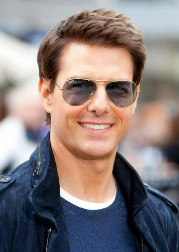 transition hairstyles from relaxed to natural for short hair : Tom Cruise Sweet and Lovely Smile with Side Part Haircut Ideas