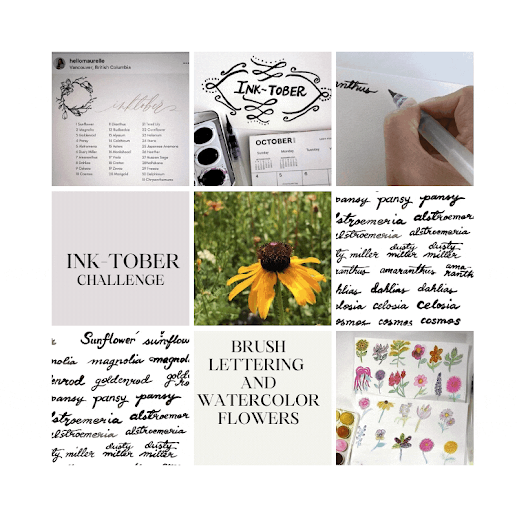 Inktober, Inktober challenge, brush lettering, calligraphy, hand lettering, blah to TADA, @hellomaurelle, flowers, autumn flowers, daily prompts, crafts, handmade, flowers, black eyed susan, rudbeckia flower, watercolor, watercolor painting, blah to TADA