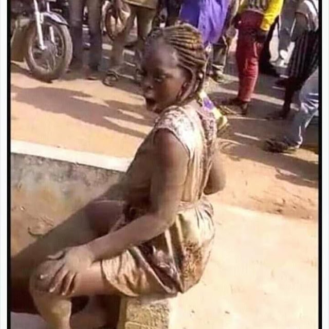A lady was dropped by Lexus jeep in which the lady go insane but which she was later tied up by the people in the community.