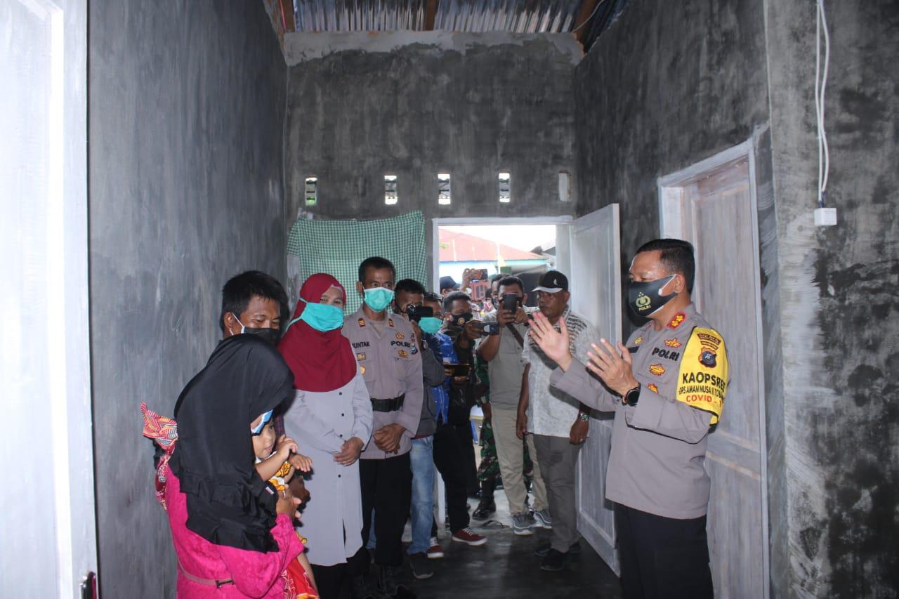 Kapolres Sergai Resmikan Bedah Rumah Warga Korban Bencana Angin Puting Beliung