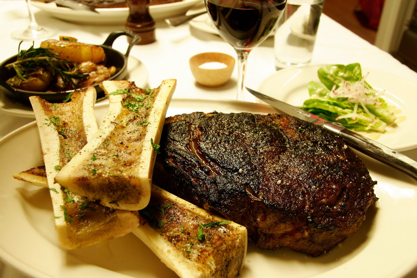 ... de Boeuf for two, with roasted marrow bones and sucrine lettuce salad