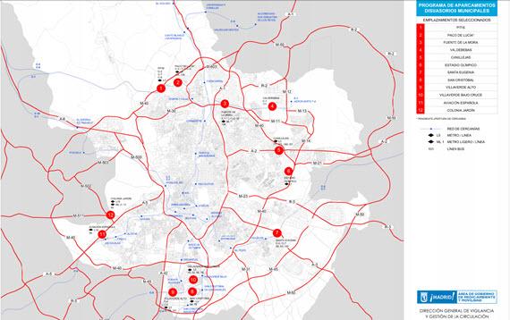9.570 plazas en 12 nuevos aparcamientos disuasorios - pincha para ampliar el plano