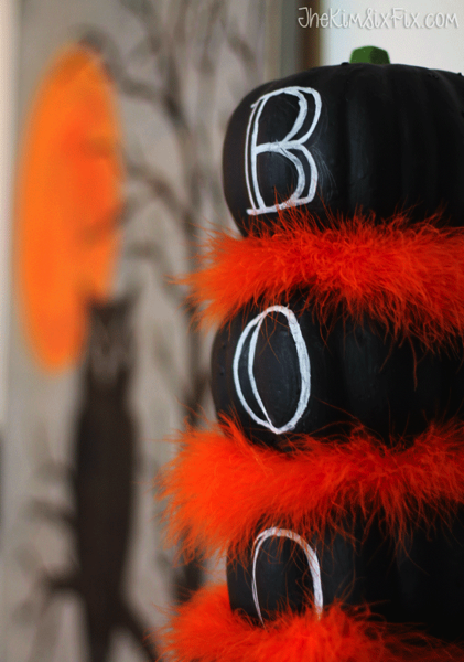 Black and orange halloween topiary mantel