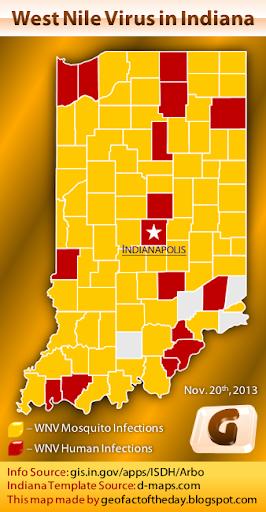 Indiana West Nile virus map, 2013