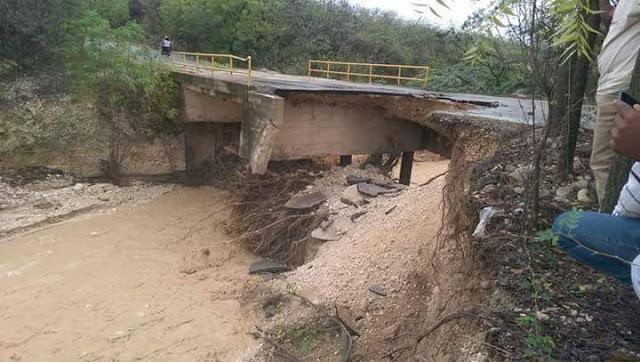 Municipio  Polo se encuentra incomunicado  debido a derrumbe de un  puente