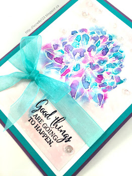 Linda Vich Creates: Watercolored Best Thoughts. Distress inks applied as watercolor produce a delightful color medley on the Best Thoughts flower stamp.