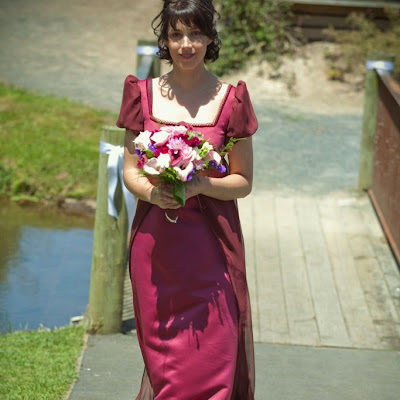 "Anna - ""Pride and Prejudice"" inspired gown. Satin with Silk chiffon sleeves and over-skirt."