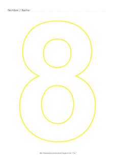 Lámina para colorear y pintar el número ocho en color amarillo