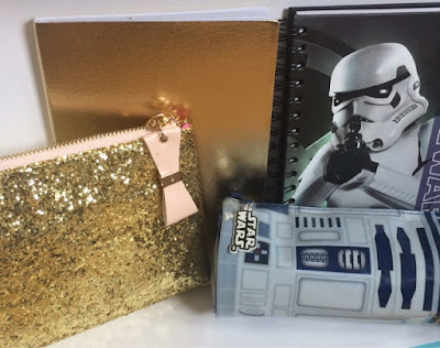 Wilko gold note book, glitter pencil case, star wars note book, r2d2 sounds pencil case