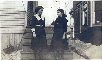 GOULD_Adele & Helen on steps_circa 1913-1915_DetroitMI_enh