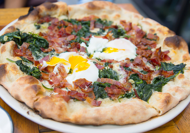 photo of a brunch pizza