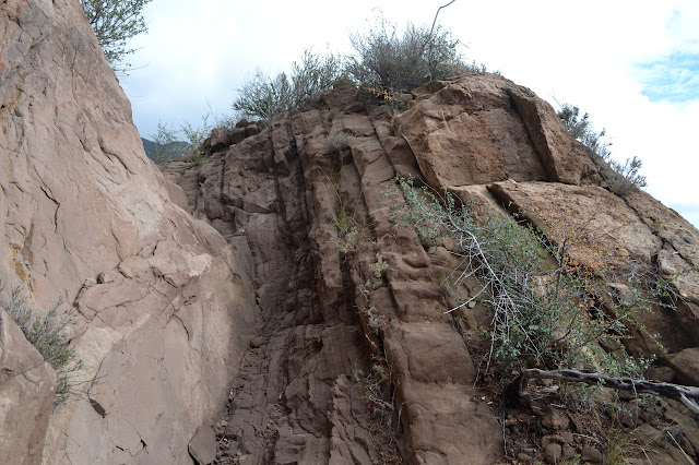 layers of sandstone offer a trail of sorts